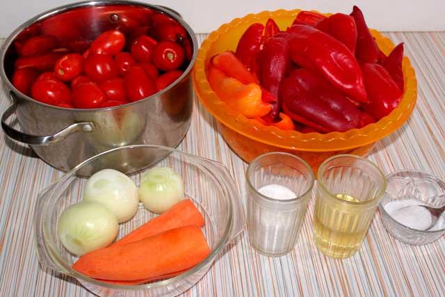 Ингредиенты для приготовления лечо на зиму