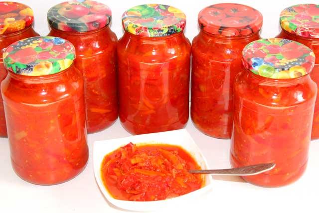 Лечо из помидоров и болгарского перца с морковью