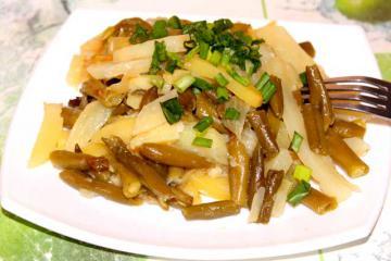 Постная фасоль с картошкой