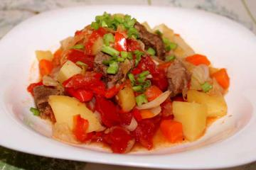 Вкусное овощное рагу с мясом