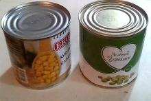 Кукуруза и зеленый горошек
